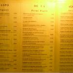 Menu restaurante al graspo de ua en Venecia