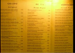 Restaurante Italiano Menu Menu Restaurante al Graspo de