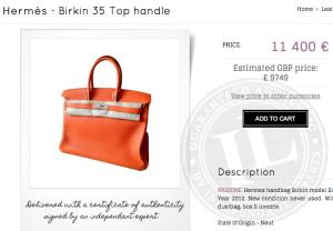 Birkin de seminueva de oferta en el sitio Instantluxe por sólo MXP 192.000, una ganga